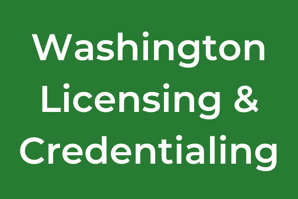 Washington Licensing & Credentialing Category